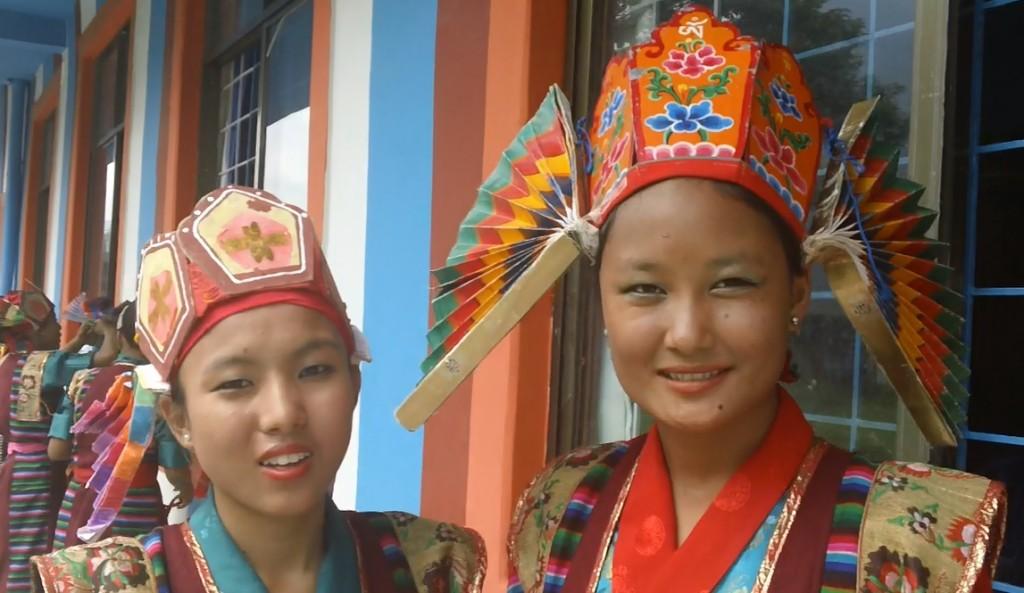 Village girls in ceremonial costume
