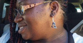 Earrings made out of a beer can